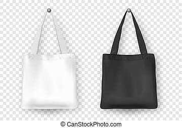 Realistic vector black and white empty textile tote bag icon...