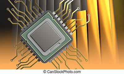 3d of cpu - 3d illustration of cpu over golden charts...