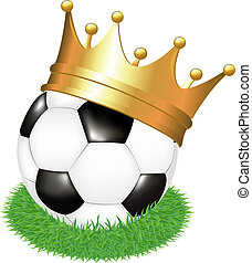 Soccer Ball On Grass With Crown, Isolated On White...