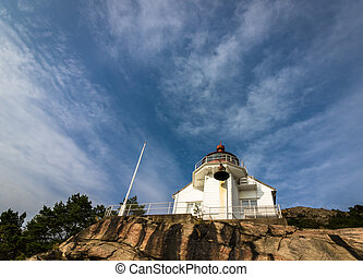 Lighthouse at Odderoya in Kristiansand, Norway - The...