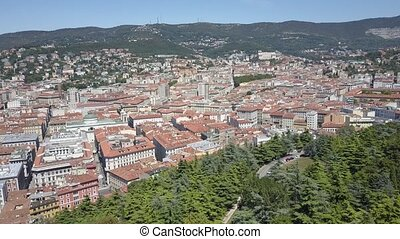 Aerial view of Trieste and the city seaport, Italy - Aerial...