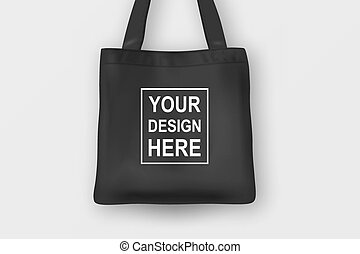 Realistic vector black empty textile tote bag. Closeup...