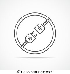 Wire plug and socket icon. Vector illustration. Plug and...