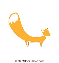 Cute cartoon fox with big tail in flat style.