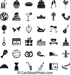 Good banquet icons set, simple style - Good banquet icons...