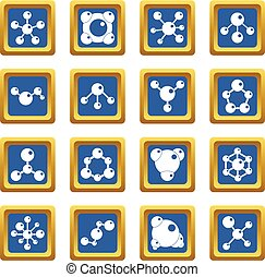 Molecule icons set blue