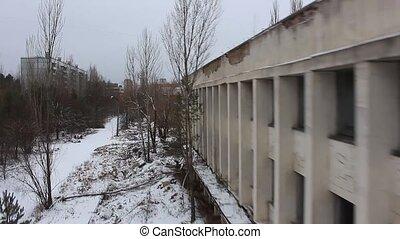 Pripyat, Reactor. Aerial view. winter - Pripyat. a view of...