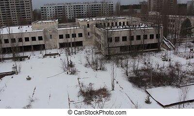 pripyat. restaurant. aerial view. winter 2014 - pripyat....