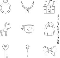 Princess things icon set, outline style - Princess things...