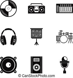 Sound studio icon set, simple style