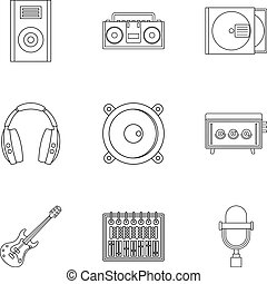 Music recording icon set, outline style - Music recording...