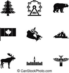 Landmarks of Canada icon set, simple style - Landmarks of...