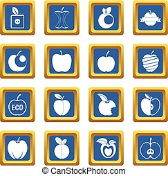 Apple icons set blue - Apple icons set in blue color...