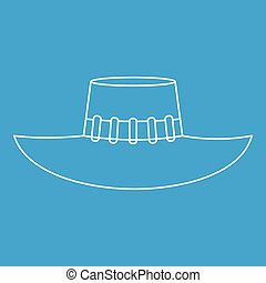 Woman hat icon, outline style - Woman hat icon blue outline...