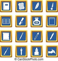 Writing icons set blue