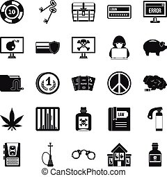 Offence icons set, simple style - Offence icons set. Simple...