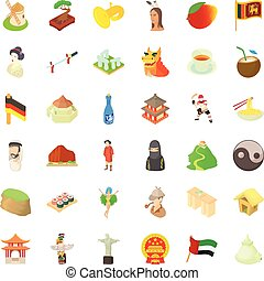 Chinese culture icons set, cartoon style - Chinese culture...