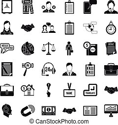 Work discussion icons set, simple style - Work discussion...