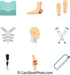 Traumatology and orthopedic icon set, flat style -...
