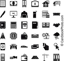 Credit bank icons set, simple style - Credit bank icons set....
