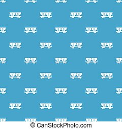 Freight railroad car pattern seamless blue - Freight...