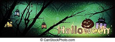 Halloween. Pumpkin on the night tree