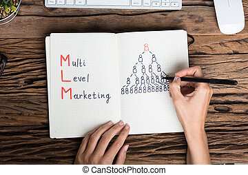 Human Hand Drawing Multilevel Marketing Concept - Close-up...