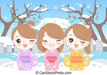 happy cartoon girls for your travel concept