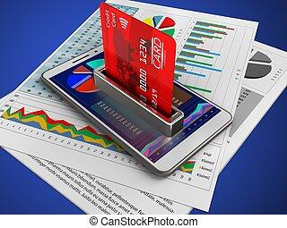 3d bank card - 3d illustration of white phone over blue...