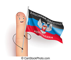 Donetsk People's Republic flag. Finger person with pole in...