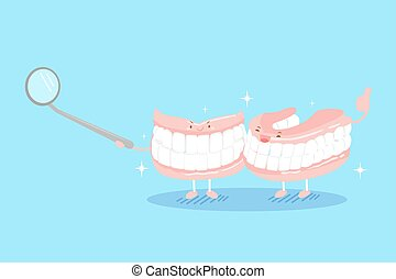 cute cartoon denture on the blue background