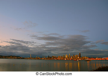 From Alki - Cloudy Night - Wide shot of the City of Seattle...