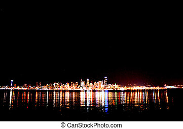 From Alki - Wide - Shot from Alki Beach at night.