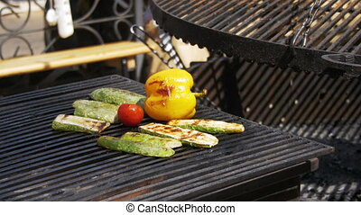 Cooking vegetables on the grill.