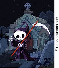 Halloween Grim Reaper - Illustration of Halloween grim...