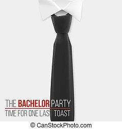 Realistic Vector White Shirt. The Bachelor Party Invitation Template. Vector Mens Shirt with Black Tie
