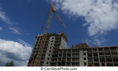 Crane and building construction site timelapse. Building and...
