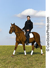 Novice Horse Rider - Young man riding a horse in the fields...