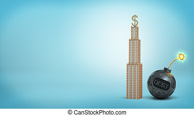 3d rendering of a tall high-rise with a large dollar sign on the top stands close to an iron bomb with a word DEBT.