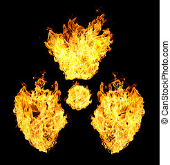 Nuclear symbol from fire flames isolated on black...
