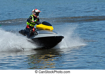 Jet ski water sport - High-speed Jet Ski Wet Bike in river