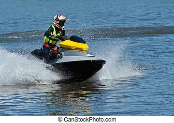 Jet ski water sport - High-speed Jet Ski Wet Bike in river