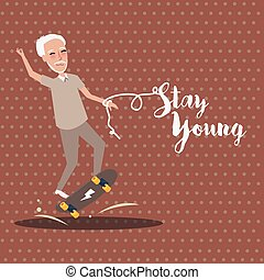 grandpa play skate board active happy old senior stay young