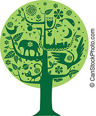 Ecology and Nature tree - Vector illustration of a tree with...