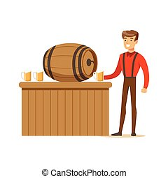 Smiling man in a Bavarian traditional costume pouring beer into glass mug in a bar or pub, Oktoberfest beer festival vector Illustration