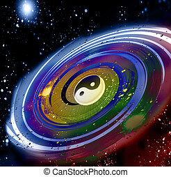 Universe of feng shui - Abstract composition with stars and...