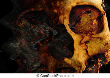 utter destruction - Abstract composition with a human skull...