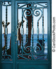 Old vintage decorative wrought iron door - Old vintage...