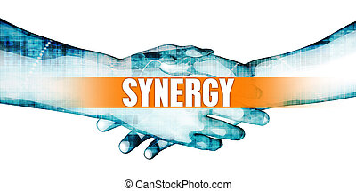 Synergy Concept with Businessmen Handshake on White...