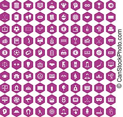 100 totalizator icons hexagon violet - 100 totalizator icons...
